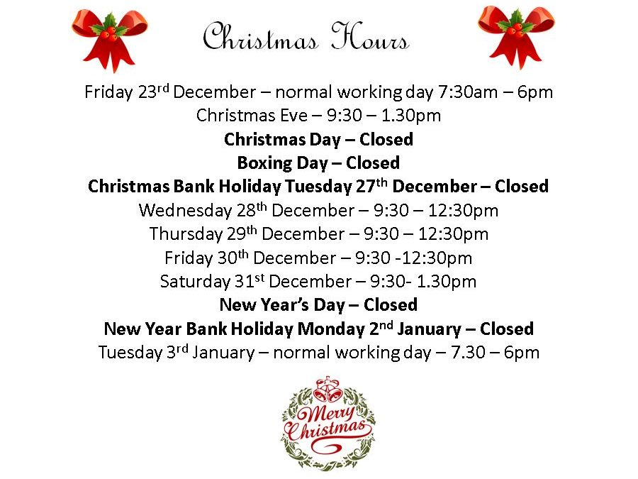 Space Saver Christmas Opening Hours