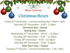 Space Saver Christmas Opening Hours 2017