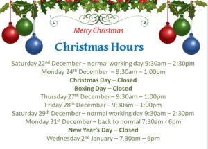 Christmas hours 2018